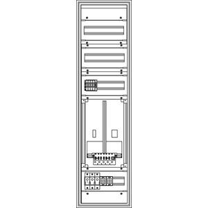 Kunststoff-Zählerverteiler 300x1129x225 mm
