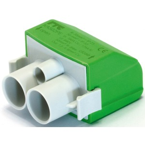 Mastanschlussklemme 1-pol. 2 Anschlüsse grün