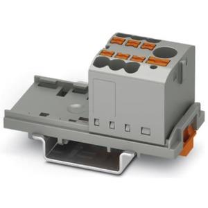 Verteilerblock senkrecht mit integrierter Einspeisung 7 x 2,5mm² grau