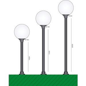 Mast schwarz Kunststoff 1000mm Höhe Zopf:60mm Gerader Mast