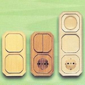 Zentralplatte Holz für Telefonsteckdose Eiche natur rustikal