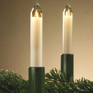20-teilige Schaftkerzenkette für innen, Schaft grün Kerze elfenbein