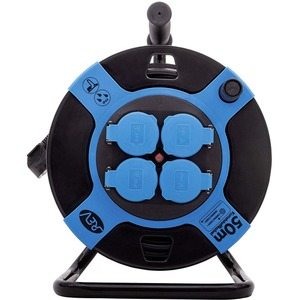 Kabeltrommel Kunststoff 4-fach IP44 50 m H05VV-F 3G1,5 mm² schwarz-blau