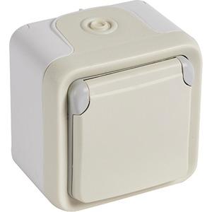 Steckdose (SL) 1-fach Feuchtraum AufputzPlexo 55 weiß