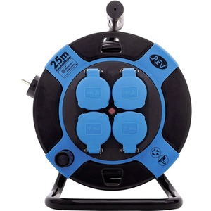 Kabeltrommel Kunststoff 4-fach IP44 25 m H05VV-F 3G1,5 mm² schwarz-blau