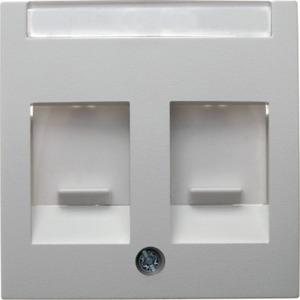 Zentralstück mit Staubschutzschiebern und Beschriftungsfeld Glas weiß