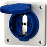 Schuko-Anbausteckdose blau 16A 2p+E 230V IP54 Steckklemme
