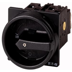 Hauptschalter und Gehäuse 6p+1S+1Ö Ie=32A HALT-Funktion Griff schwarz 90°