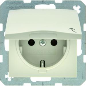 SCHUKO-Steckdose mit Klappdeckel S.1 - weiß/ glänzend