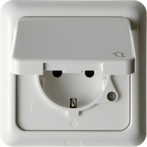 SCHUKO-Steckdose mit Klappdkl. u. Rahmen wg Up - polarweiß/ glänzend