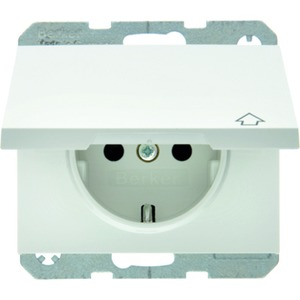SCHUKO-Steckdose mit Klappdeckel K.1 - polarweiß/ glänzend