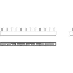 Phasenschiene 1xFI-4P/4xLS-1P+N(2TE) = 12TE für Wohnungsverteiler