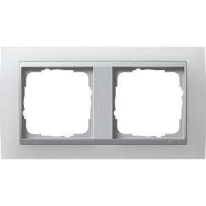 2-fach Abdeckrahmen für Aluminium Event Opak weiß