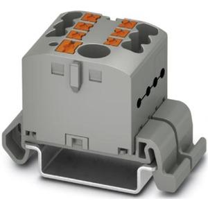 Verteilerblock waagrecht mit integrierter Einspeisung 7 x 2,5mm² grau