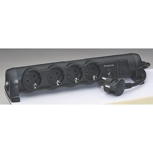 Drehbare Steckdosenleiste 4-fach mit Überspannungsschutz 1,5m schwarz