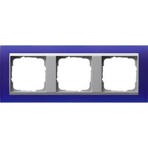 3-fach Abdeckrahmen für Aluminium Event Opak blau