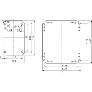 Einfache Montageplatte Rasterdruck,H400xB300mm aus verzinktem Stahl