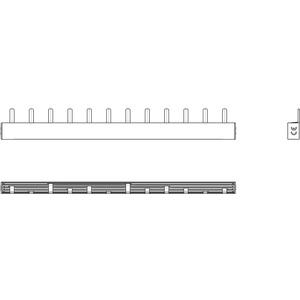 Phasenschiene 1xFI-4P/1xLS-3P+N/2xLS-1P+N(2TE) = 12TE für Wohnungsverteiler