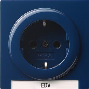 SCHUKO-Steckdose mit Schriftfeld für S-Color blau