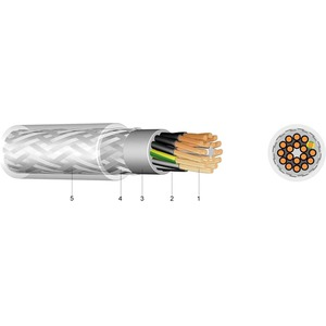 PVC Steuerleitung mit Stahldrahtgeflecht LSYYQVY-JB 5X35