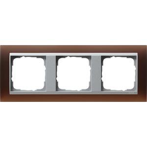 3-fach Abdeckrahmen für Aluminium Event Opak dunkelbraun