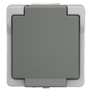 Feuchtraum Steckdose 2 polig grau