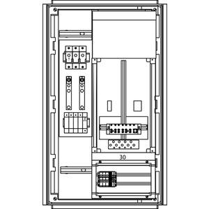 Freileitungs-Hausanschluss-Zählerverteiler Feuchtraum 490x820x250mm