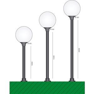 Mast schwarz Kunststoff 1500mm Höhe Zopf:60mm Gerader Mast
