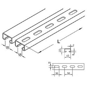 Ankerschiene gelocht für Kabeltragsystem A8-20/S