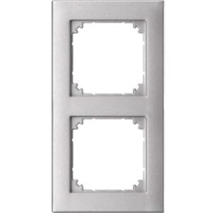 Abdeckrahmen 2-fach bündiger Einbau aluminium matt