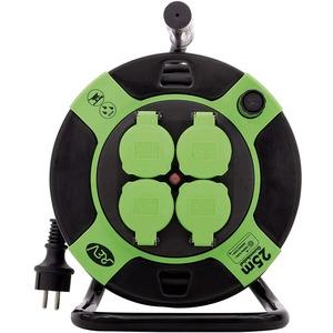 Kabeltrommel Kunststoff 4-fach IP44 25 m H05RR-F 3G1,5 mm² schwarz-grün