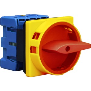 Hauptschalter 4polig 4-Loch-Befestigung Sperrvorrichtung rot-gelb